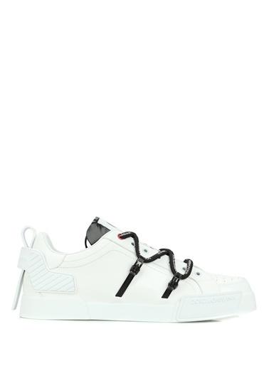 Dolce&Gabbana Dolce&Gabbana 101620271 Yuvarlak Burun Çarpraz Bağcıklı Logo Detaylı Deri Erkek Sneaker Beyaz